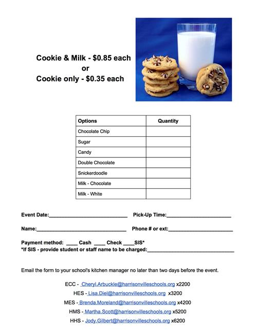 milk and cookie order form