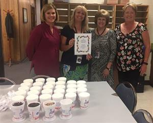 Board member Gina Smith & secretary Susan Brooker deliver ice cream to CCC