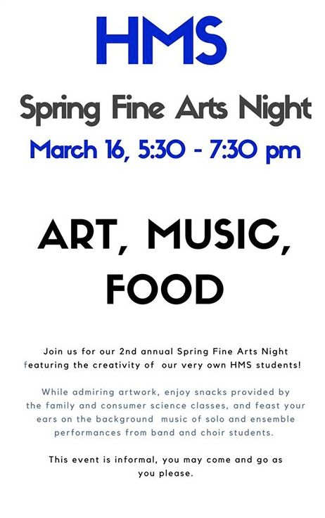 hms to host fine arts night on March 16